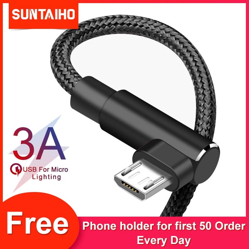 Зарядный кабель Suntaiho Micro для Xiaomi Redmi 7 4X Samsung S7 LG Android 90 градусов с нейлоновой оплеткой 3A быстрое зарядное устройство USB