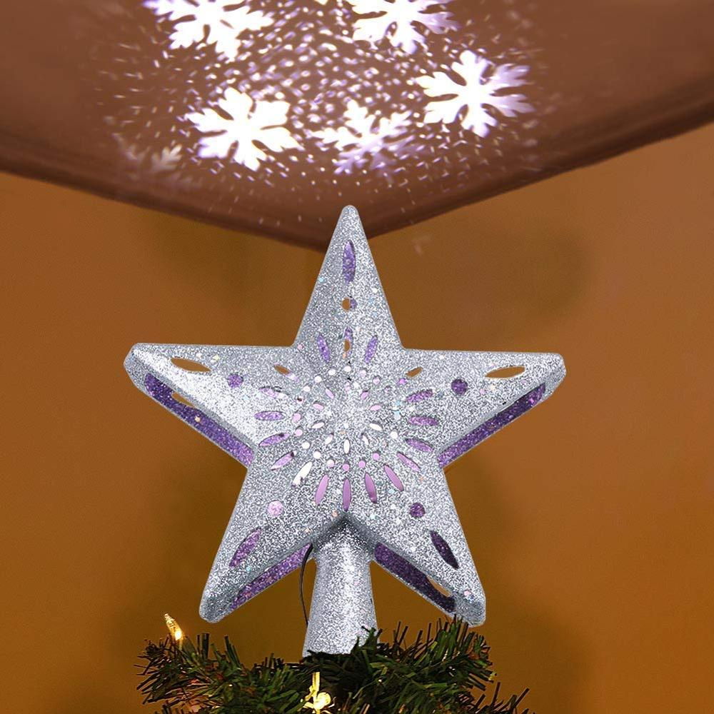3D Led Light Hollow Star Christmas Tree Topper Projector Lighted Sparkling Star With Rotating Magic Cool White Snowflake