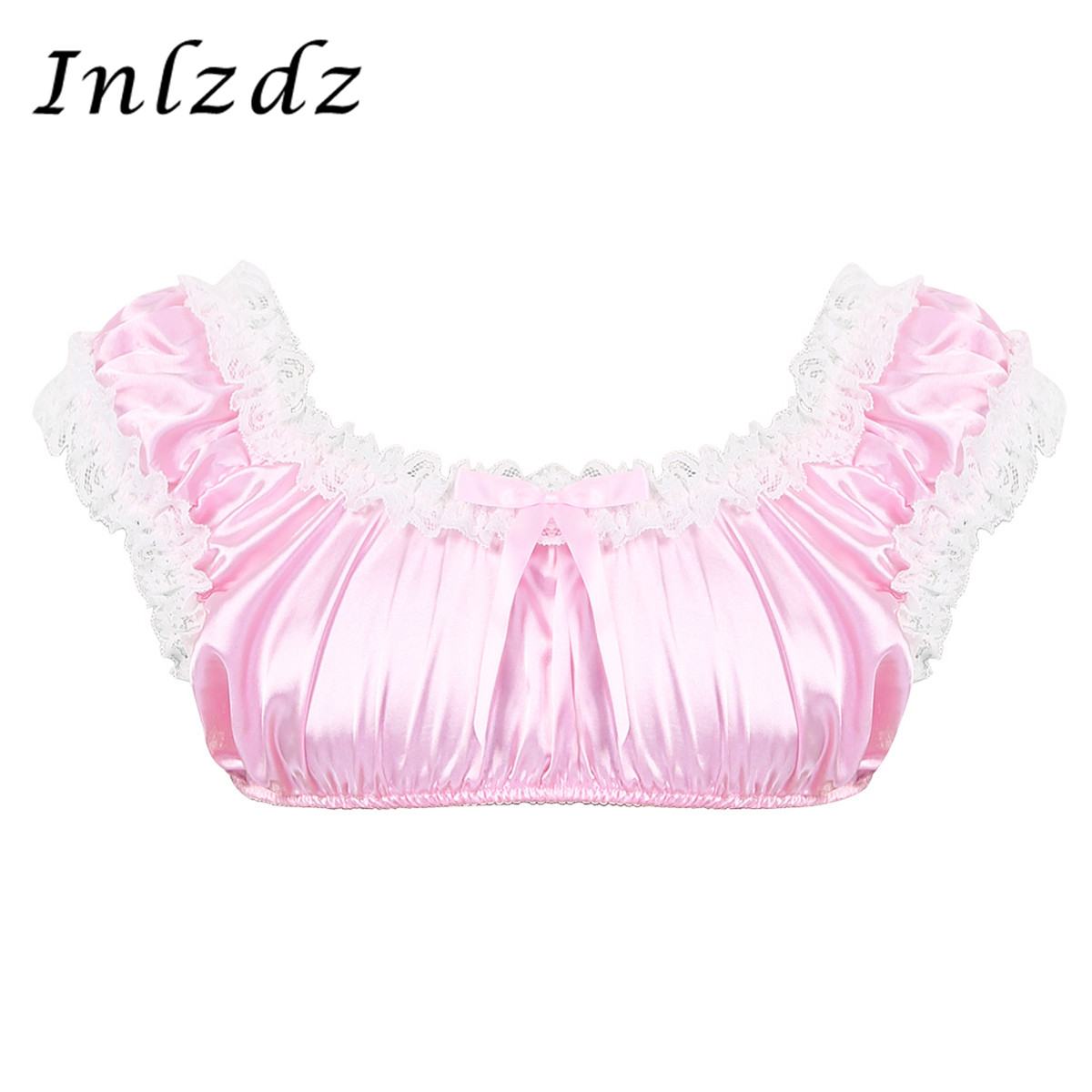 Mens Sissy Crossdresser Smooth Satin Sexy Lingerie Scoop Neck Sleeveless Frilly Ruffled Lace Hem Sissy Bra Top Shirt Crop Top