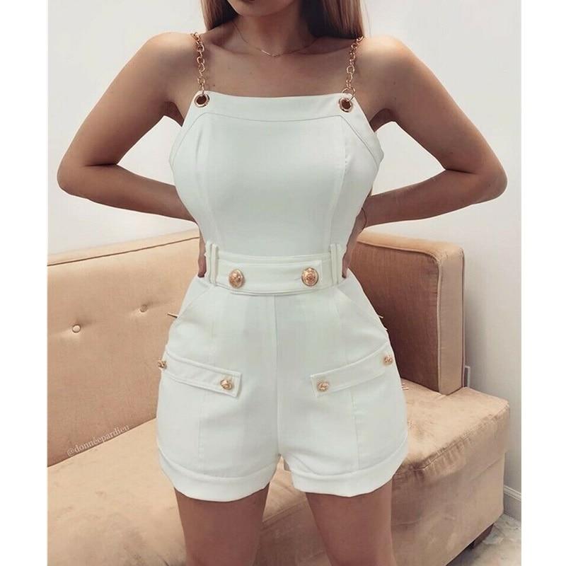 2019 Fashion Women's Sleeveless Chain Belt Stylish Jumpsuit Shorts Trouser Ladies Holiday Casual Playsuits Streetwear