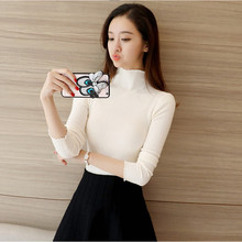 Turtleneck Sweater Women Spring Autumn Solid Knitted Pullover Slim Soft Jumper Elasticity Pullovers 2019