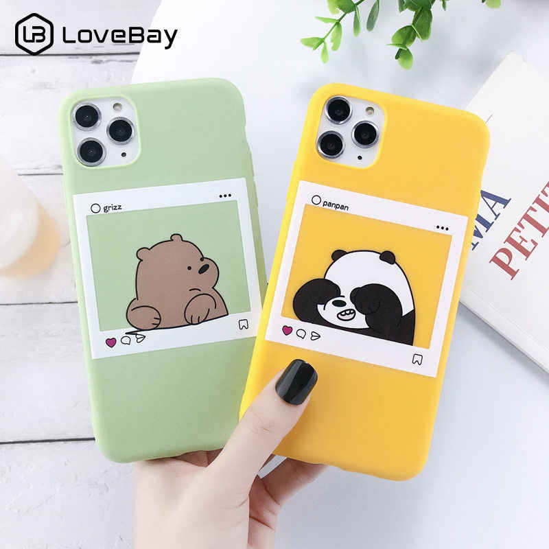 Lovebay For iPhone 11 Case Cute Animals Bear For iPhone 7 8 6 6s Plus X XR XS Max 11 Pro Max Phone Case Soft Silicone Back Cover