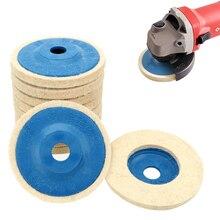 LEEPEE 10 יח\סט מרוט זווית מטחנות גלגל הרגיש צמר גלגל ליטוש דיסק כרית סט 9.5cm צמר ליטוש רפידות