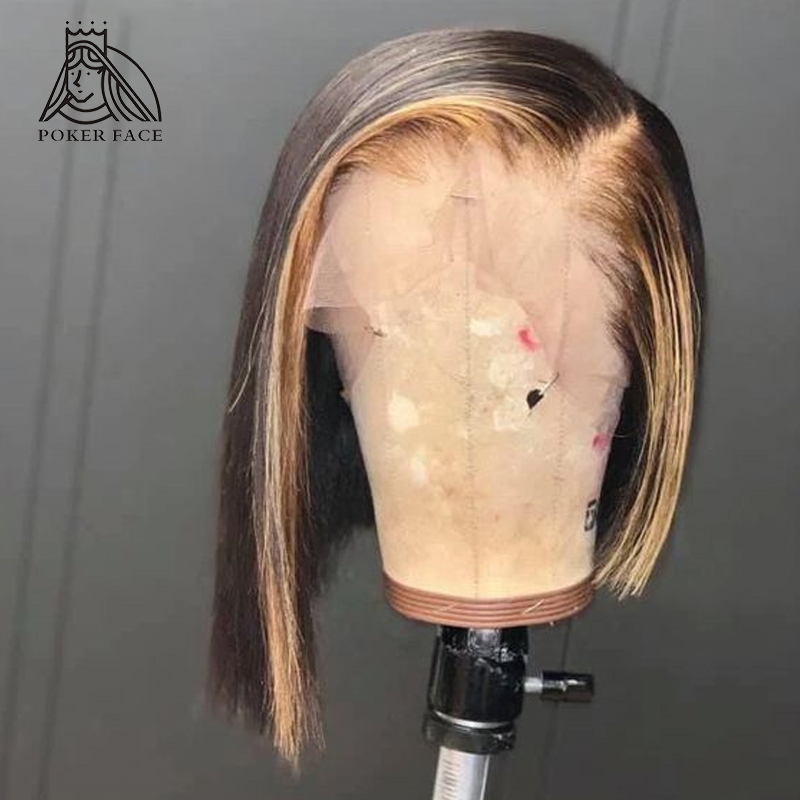 13x6 Straight Highlight Wig Ombre Brown Honey Blonde Short Bob Wig Transparent HD Lace Front Wigs 150% Density Remy