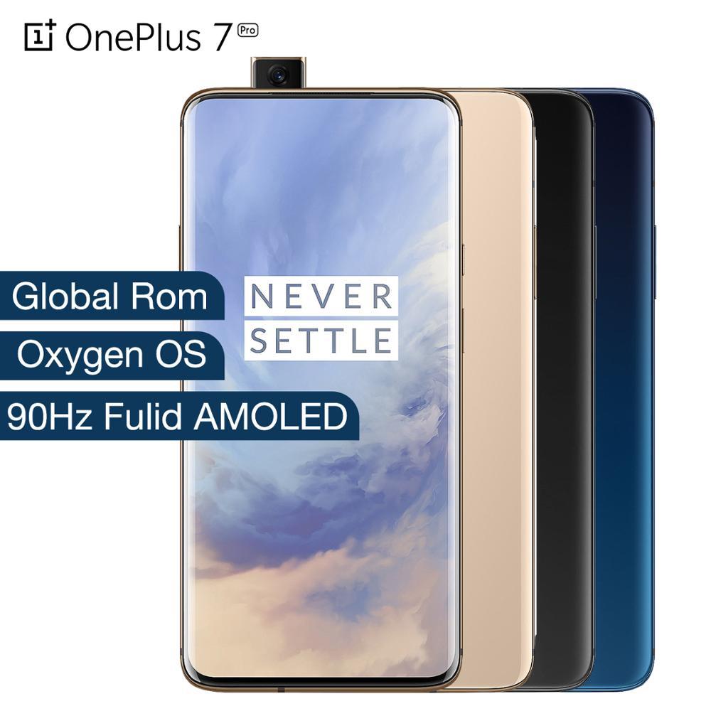Rom global oneplus 7 pro 6 gb ram 128 gb rom smartphone snapdragon 855 octa núcleo ufs 3.0 nfc 48 mp triplo câmera fulid amoled