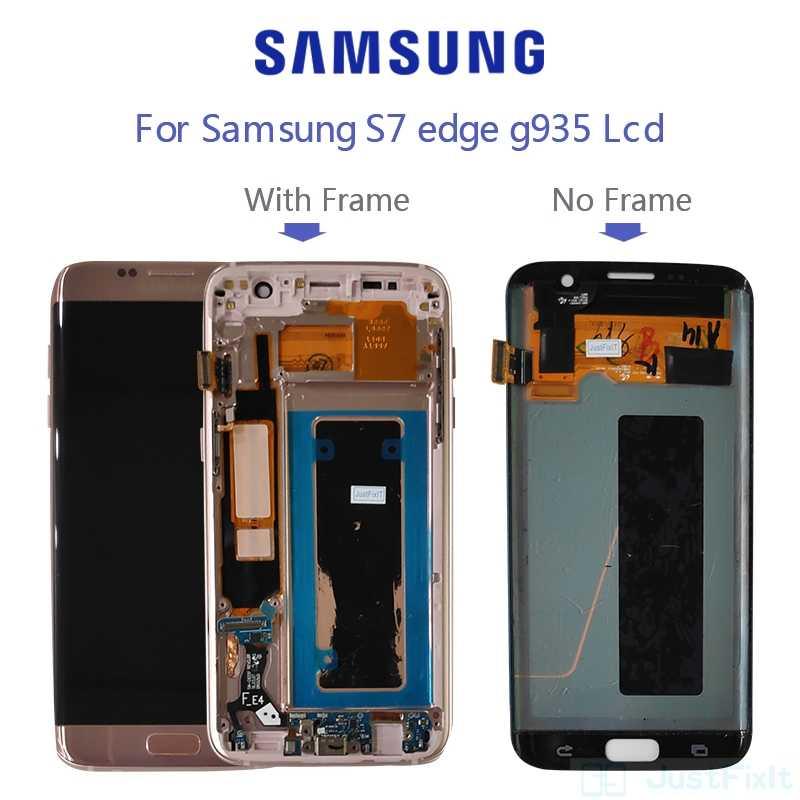 لسامسونج غالاكسي S7 حافة G935F G935A G935FD حرق في الظل و عيب lcd عرض مع شاشة تعمل باللمس محول الأرقام