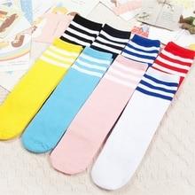 Детские гольфы для девочек и мальчиков, хлопковые спортивные белые носки в полоску для старшеклассников детские длинные теплые гольфы без пятки для катания на коньках