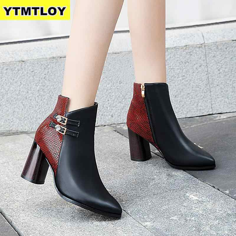 Botas tobilleras de invierno 2019 nuevas botas de tacón alto de mujer botas de cuero de plataforma para mujer zapatos negros zapatos de mujer