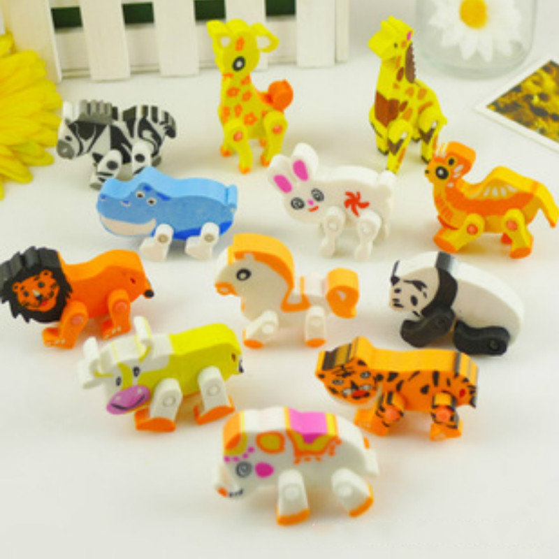 1pcs Cute Cartoon Animal Eraser Fashion Creative Lion Tiger Shape Pencil Erasers For Kids Novel Funny Korea Stationery Gift