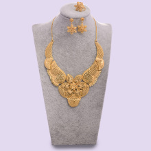 WANDO Big Gold Color Dubai Jewelry sets for women Wedding Jewelry set African bridal wedding gifts Arab necklace earrings multicolor crystal rhinestone peacock shape necklace earrings set for women wedding dubai bridal jewelry sets