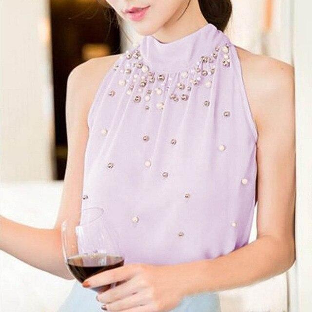 Plus Size Stylish Women Solid Color Sleeveless Mock Neck Halter Blouse Beads Chiffon Top OL Ladies Tops Summer