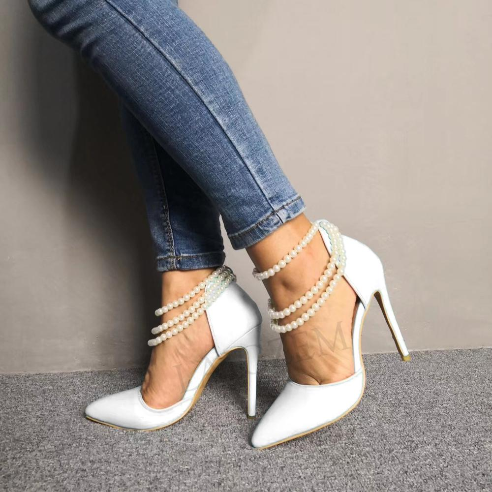 LAIGZEM Frauen Heels Stiletto Perle Straps High Heels Spitz Hochzeit Party Prom Pumpen Schuhe für Damen 2020 Große Schuhe 47-in Damenpumps aus Schuhe bei  Gruppe 2