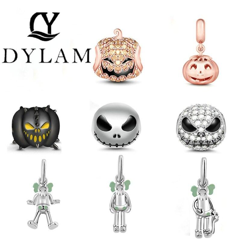 """Jack Skull"" Black 925 Sterling Silver Beads Devil Pumpkin Charms For Halloween With Cubic Zircon Fit PANDORA Bracelets"