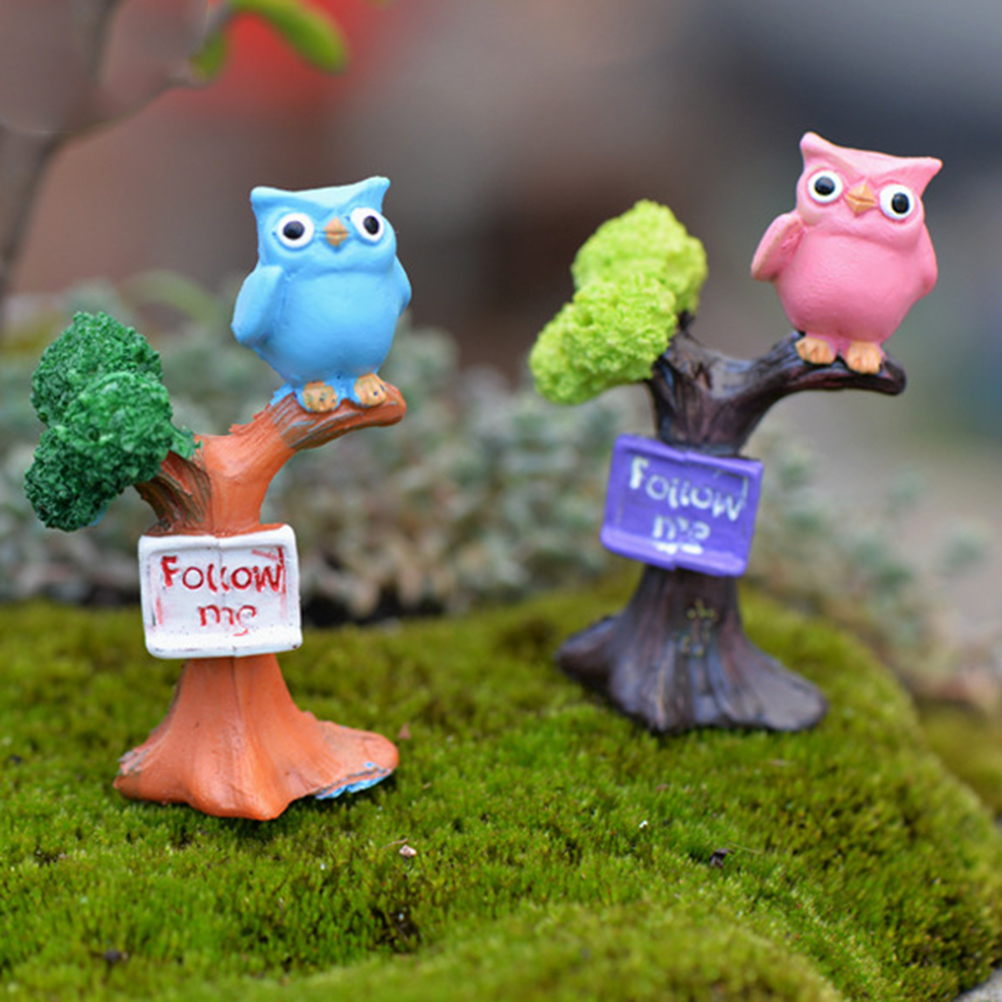 2020 1PCS DIY Resin Owl & Tree Branch Mini Crafts Miniatures Fairy Garden Ornaments Bonsai Micro Landscape Garden Decoration