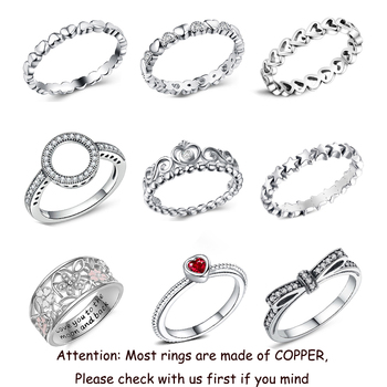 2019 New Fashion Ring Love Heart Crown Flower Finger Rings Clear CZ Stackable Fit Pan For Women Wedding Jewelry Gift Dropship