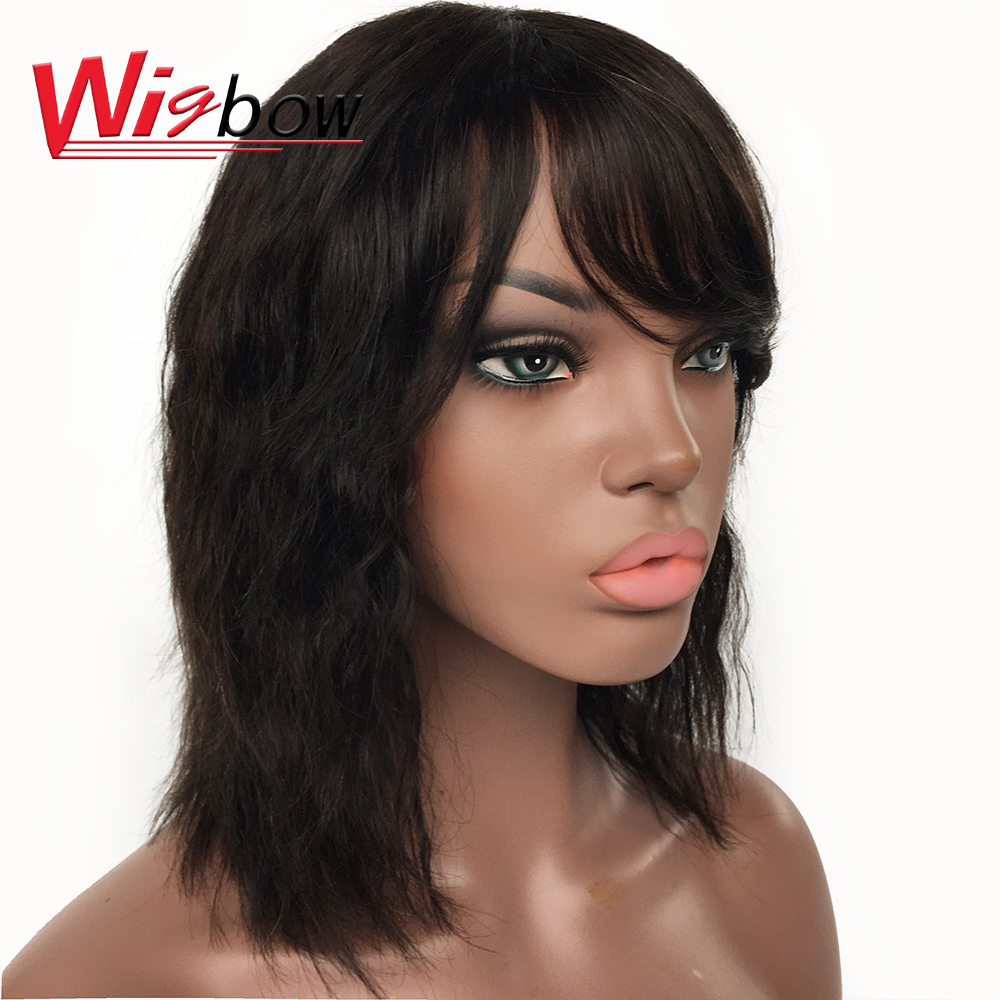 Natural Wave Human Hair Wigs For Women Indian Remy Hair Natural Color Wig With Fringe 150% Density Human Hair Deep Wave Wigs