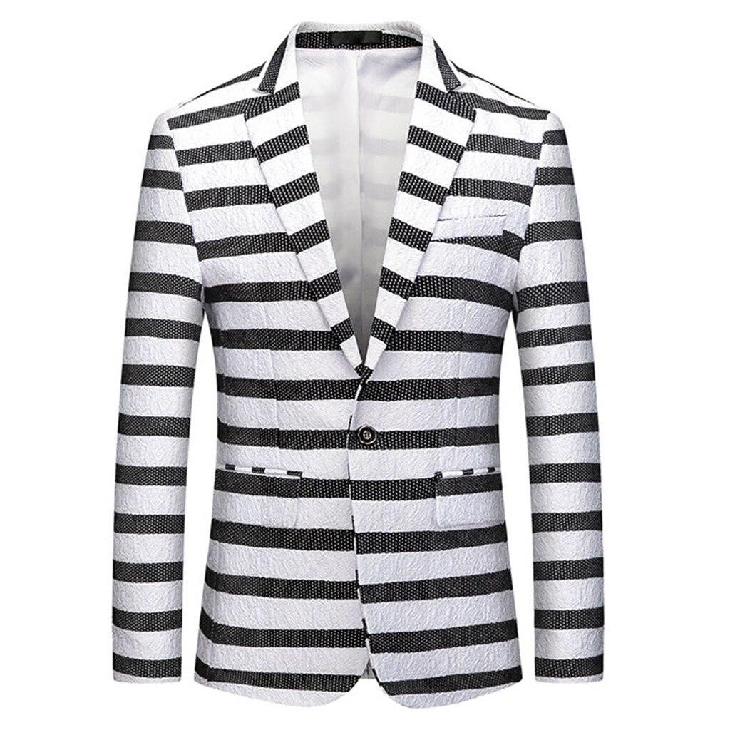 Winter Male Blazer Jackets New Fashion Men's Casual Business Wedding Long Sleeve Stripe Print Floral Suit Coat Jacket Parka Men