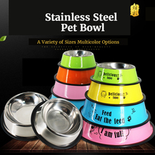 Stainless Steel Pet Bowl Pretty Colorful Paint Cartoon Single Dog Water Cat Food Pot cat bowl Products