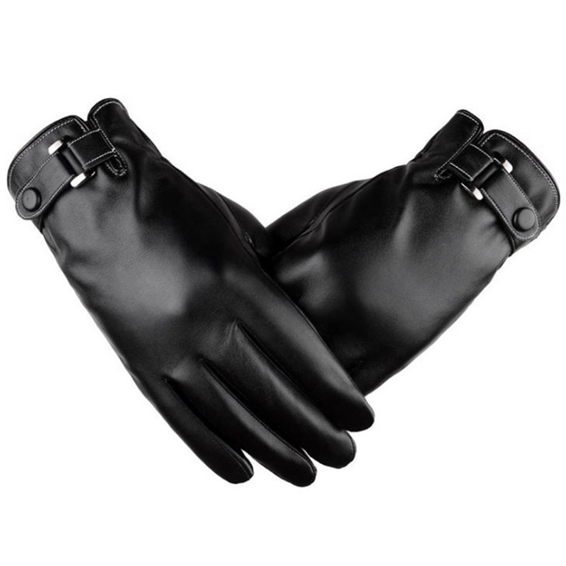 Leather Short Thin/Thick Black/Touch Screen Glove Man Car Driving Mittens-ABLD