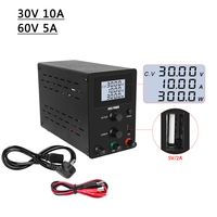 New 0.001A LCD Screen Lab Switching USB Power Supply Adjustable DC 30V 10A 60V 5A Laboratory Power Source Protect Eyes
