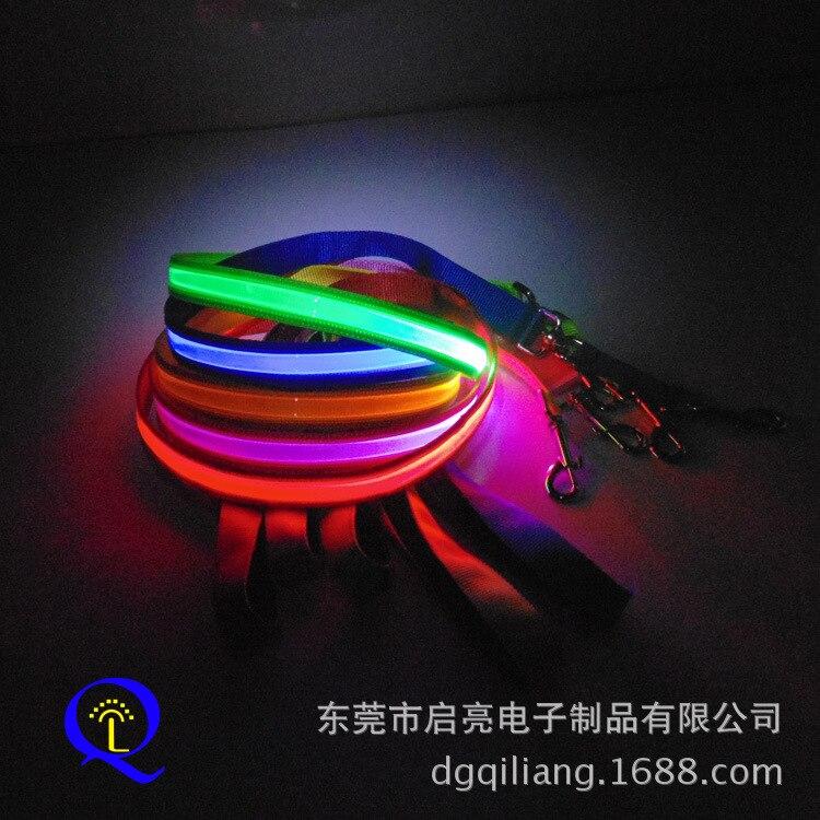 [] LED Nylon Pet Traction Rope Highlight Flash Safe Warning Dog Shining Sling