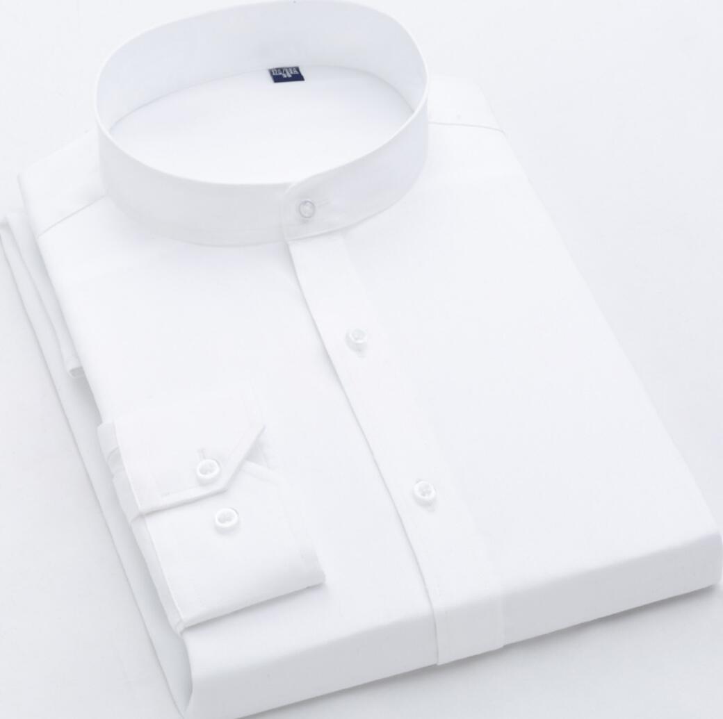 2019 Spring New Collar Shirt Em8 Men's Cotton Long-sleeved Business Round Neck Men's White Shirt Slim Cotton Xkj113-02-27