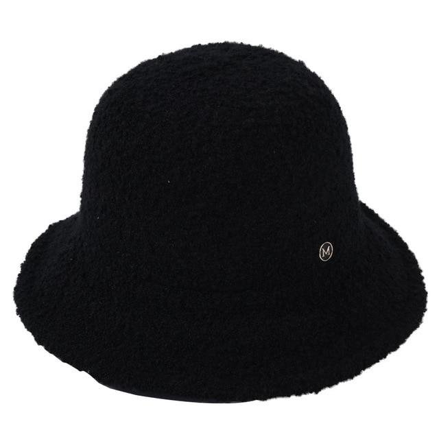 USPOP Women Hats Loop Yarn Letter M Bucket Hats Thick Warm Winter Hats Solid Color Collapsible Bucket Hat Caps