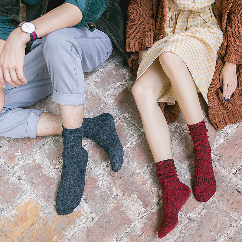 Ethnic Style Thick Line Socks Couples In Tube Socks, Male And Female Students, Personality Piles Of Socks, Female Cute Sweet