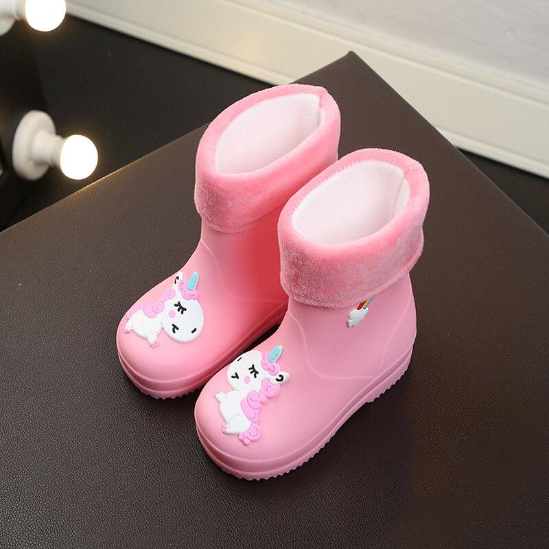 Резиновые сапоги для мальчиков и девочек, непромокаемые сапоги с мультяшным единорогом, водонепроницаемые, Нескользящие, теплые, съемные, ...