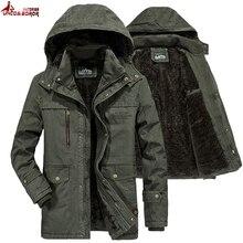 العلامة التجارية الشتاء سترة عسكرية الرجال سترة واقية الصوف بطانة معطف Jaqueta الغمد الرجال الفراء مقنع الثلوج معطف بركة (سترة من الفراء بقبعة للقطب الشمالي) الرجال الملابس