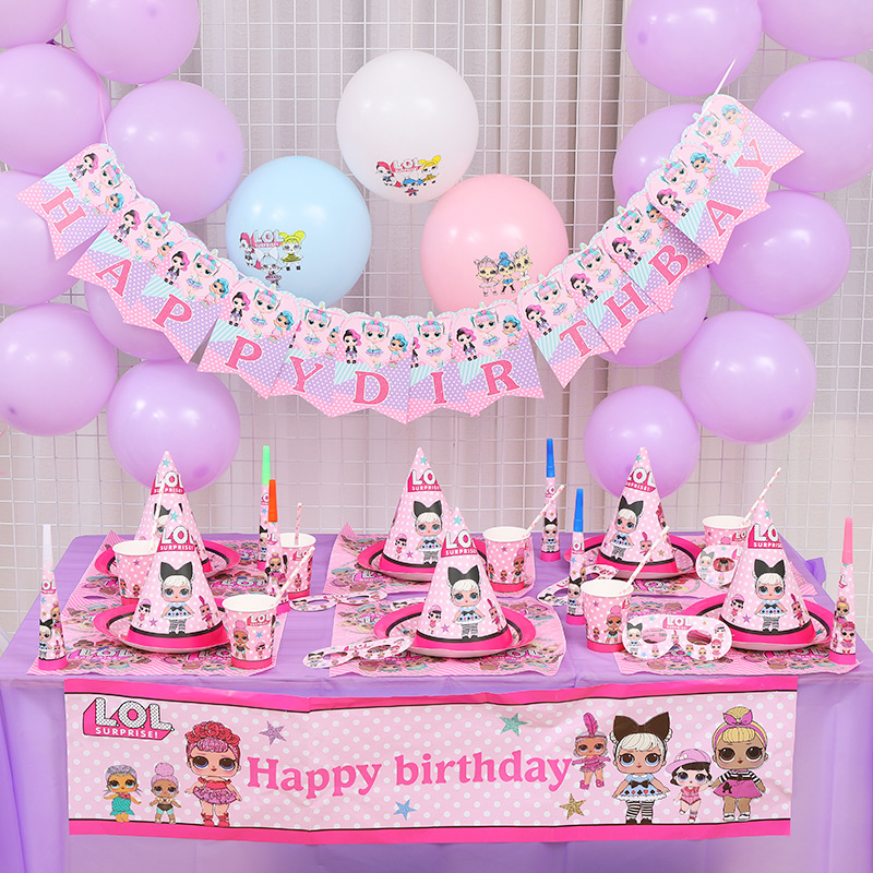 LOL surprise dolls Birthday Party theme Decoration Supplies Holiday Cup Plate Spoon Cake Stand Activity Event Kids Gifts