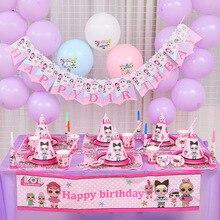 LOL surprise dolls tema fiesta de cumpleaños decoración suministros vacaciones taza plato cuchara pastel soporte actividad evento niños regalos