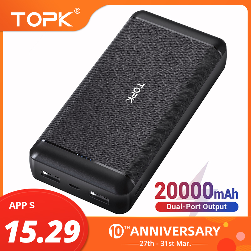 TOPK <font><b>Power</b></font> <font><b>Bank</b></font> 20000mAh External Battery Portable Charger Dual USB Powerbank <font><b>20000</b></font> mAh For iPhone Xiaomi Samsung Mobile Phone image