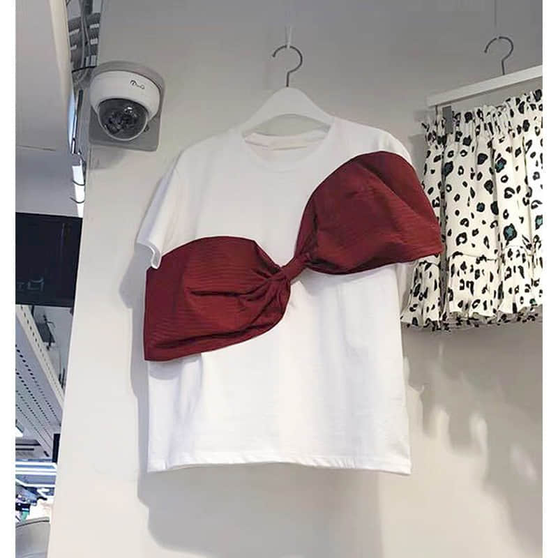 Korean Women T Shirt Cotton White T Shirts Big Bow Short Sleeve Tshirts All Match Women Tshirt Fashion Black T-shirt Tops New image