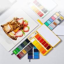 Dropshipping superior 36/48/60 cor aguarela conjunto de pintura macaron sólido aquarela para pintura do artista desenho arte suprimentos