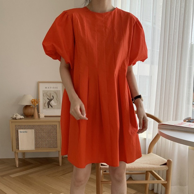 [EWQ] 2021 New Summer Women Vintage Loose High Waist Slim Was Thin Elegant Folds Puff Sleeve O-neck Mini Dress ZA4580 2