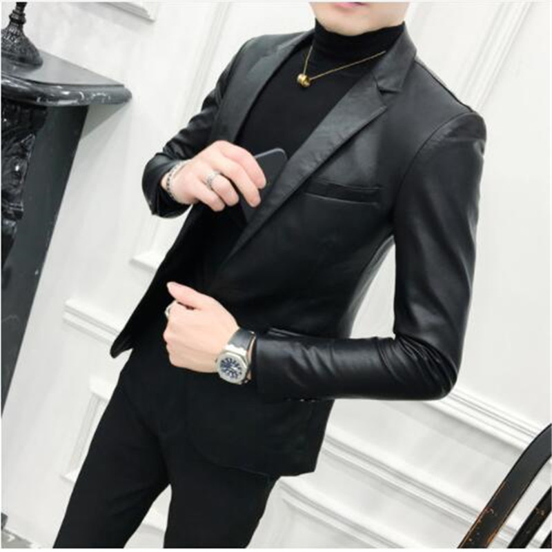 Solid Black Slim Fit Blazer Hombre PU Leather Jacket Men One Button Business Casual Prom Blazers For Men Korean Suit Coat