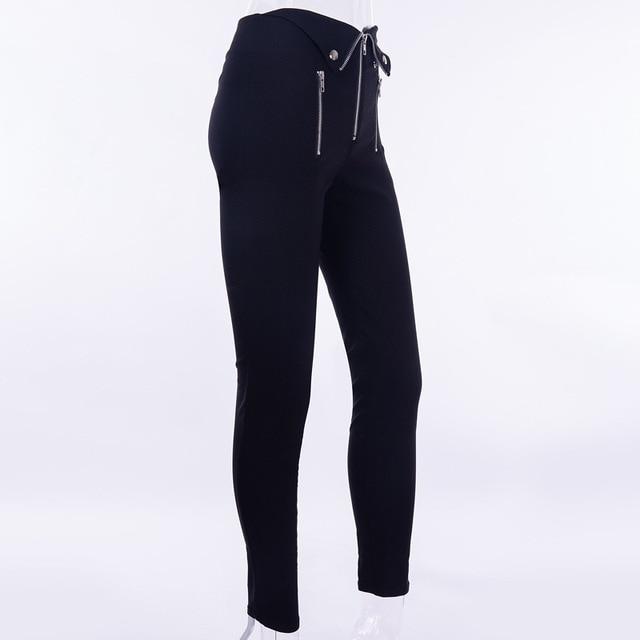 Gothic harajuku Grunge pants women zipper fold streetwear pencil casual Fashion pant black chic Summer long trousers Streetwear 5