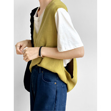 2020 Autumn New Solid Color Loose V-neck Sleeveless Knitted Vest Women Pullover Waistcoat