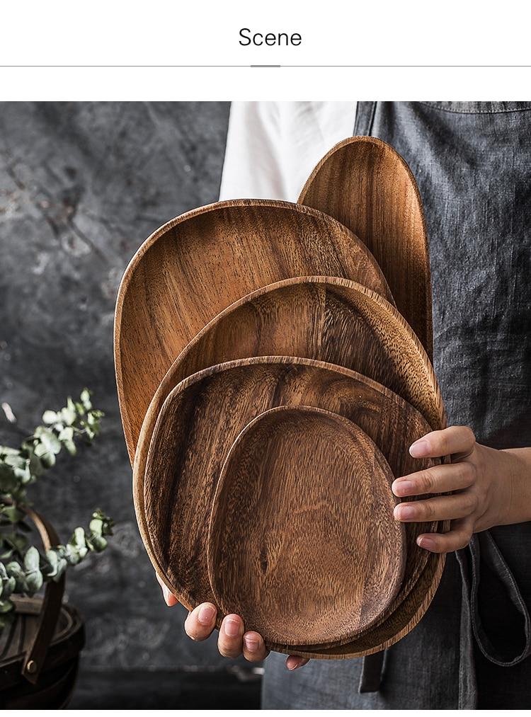 Large Natural Wood Plate Set