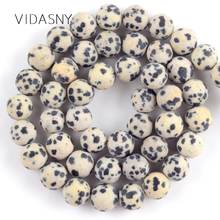 Natural Dull Polished Dalmation Jaspers Beads For Jewelry Making 4 6 8 10 12mm Matte Round Diy Bracelet Necklace 15