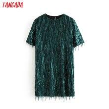 Tangada, женское зеленое платье с блестками, круглый вырез, короткий рукав, Осень-зима, женское Новогоднее праздничное платье, vestidos 3H171