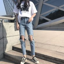 Ankle -Length Pants High waist Loose with holes Fashion Women High waist ripped Jeans for Woman high waist jeans with belt