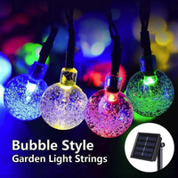 Solar Crystal Ball String Lights 50LED Flash Festival Garden Xmas Decor Waterproof Romantic Outdoor Creative Landscape Lamp