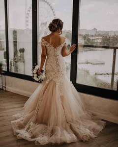 Image 2 - Mermaid Wedding Dresses 2020 Jewel Neck Tulle Wedding Gowns Lace Up Back Bride Dress Lace Bridal Gown With Horsehair Custom Made