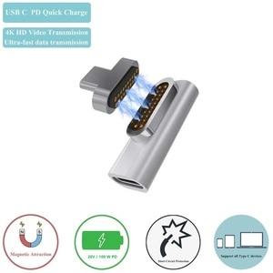 Магнитный USB C адаптер, поддержка PD зарядного устройства и передачи данных (10Gbp/s), USB3.1 Type-C питания, 100W L наконечник для MBP 16,13