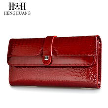 Hh carteira feminina de couro legítimo, carteira longa estilo alinhador vermelho com três dobras estilo saco de vaca
