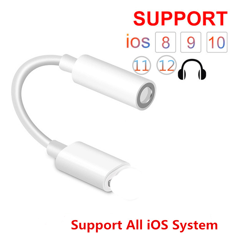 For Lightning To 3.5mm Earphone Aux Audio Adapter For IPhone IOS Adaptador 3.5 Jack Headphone Cable Music Splitter Connector