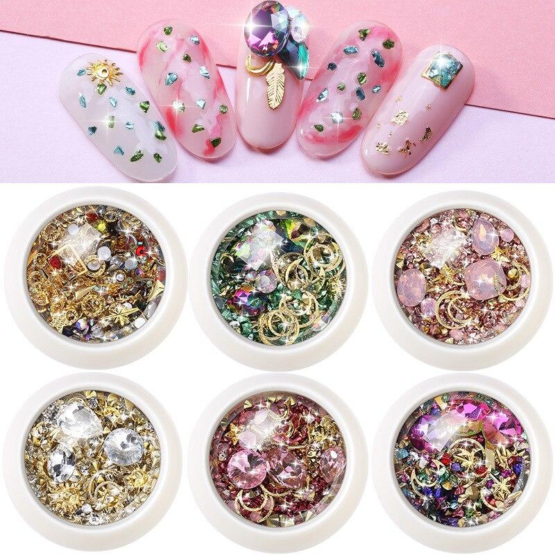 Красочный камень ногтей аксессуары DIY маникюр Шарм 3D бриллианты стразы камни для нейл-арта украшения