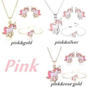 4pcs/set Pink Necklace Earrings Cartoon